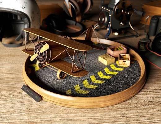 玩具飞机, 摆件组合, 现代