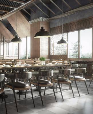 餐厅, 餐桌, 餐椅, 摆件, 吊灯, 装饰品, 陈设品, 工业风