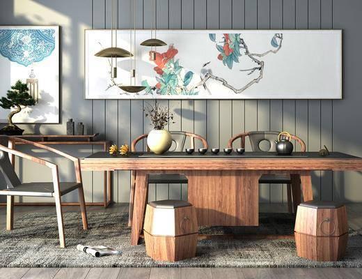 茶台桌椅, 茶桌, 凳子, 单人椅, 装饰画, 挂画, 吊灯, 摆件, 装饰品, 陈设品, 新中式