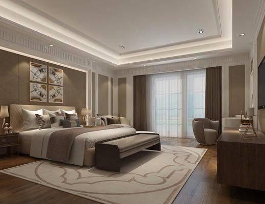 后现代卧室, 卧室, 双人床, 床尾凳, 电视柜, 单人沙发