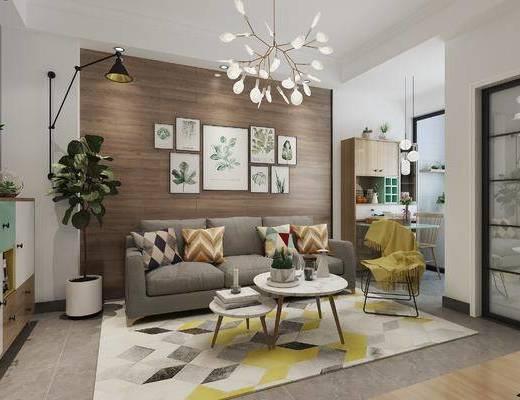 北欧, 客厅, 沙发, 圆几, 吊灯, 植物, 盆栽, 装饰柜