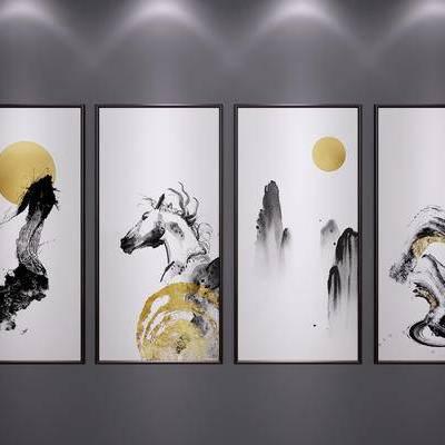 中式装饰挂画, 中式山水画, 中式水墨画, 中式端景画, 中式艺术画