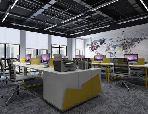 办公区, 书桌, 会议桌, 办公桌, 单人椅, 办公椅, 电脑, 吊灯, 花瓶, 花卉, 前台, 现代