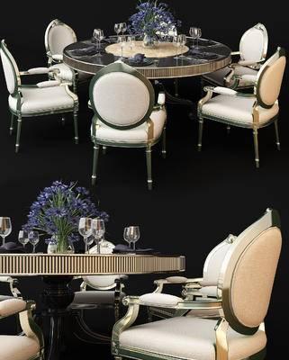 欧式, 餐桌椅, 花瓶, 餐具