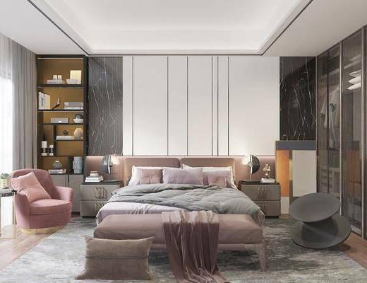 雙人床, 單椅, 衣柜, 床尾踏