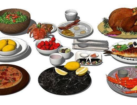 现代, 餐桌, 食物, 组合