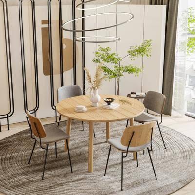 现代餐厅, 餐桌椅, 吊灯
