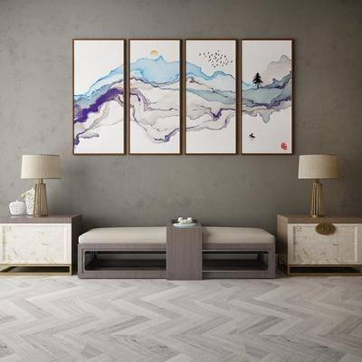 中式沙发凳, 边几, 挂画
