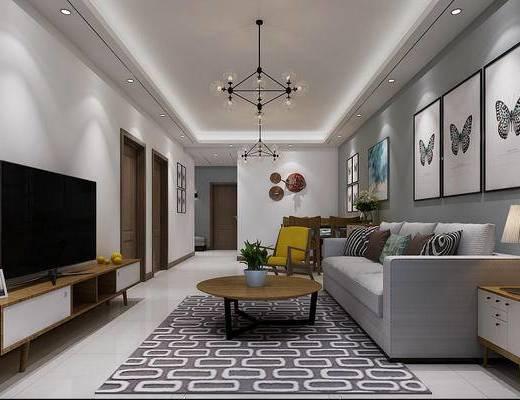 现代简约客厅, 电视柜, 现代吊灯, 沙发组合, 休闲椅, 挂画