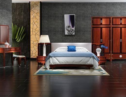 双人床, 床具组合, 床头柜, 台灯, 书桌, 凳子, 衣柜, 中式