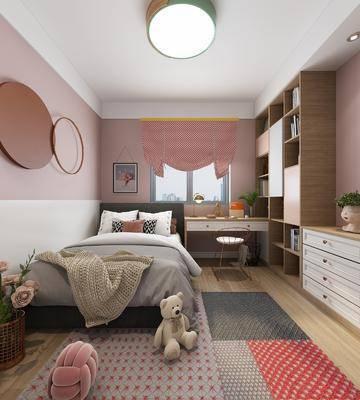 儿童房, 北欧儿童房, 墙饰, 书柜, 摆件组合, 书桌, 装饰柜, 北欧, 床具组合
