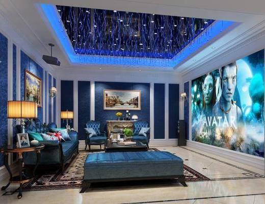 欧式影音室, 影音室, 沙发组合