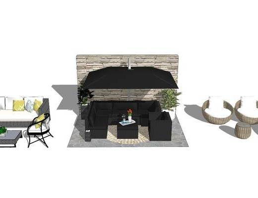 沙发组合, 茶几, 单椅, 背景墙