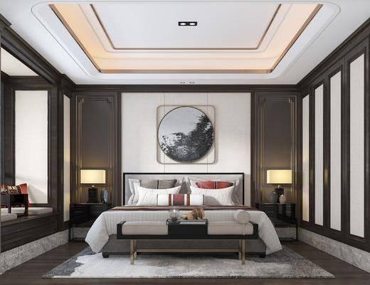 中式卧室, 双人床, 床尾凳, 床头柜, 台灯, 挂画