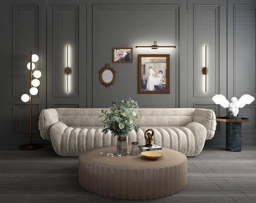 美式, 轻奢, 沙发, 组合