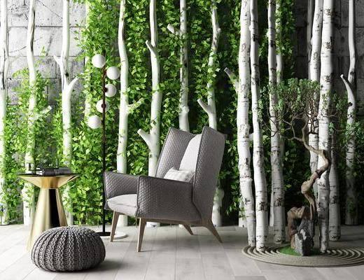單椅, 植物, 花草, 茶幾
