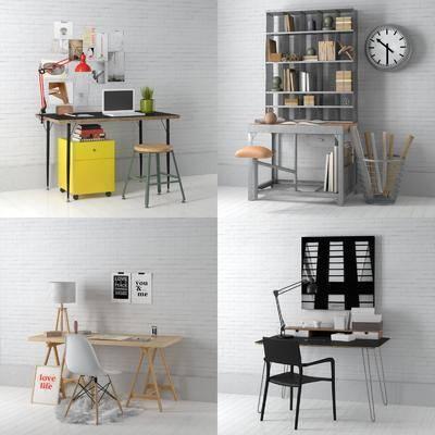 书桌, 单椅, 桌椅组合, 摆件, 装饰品, 植物, 盆栽, 挂画, 装饰画, 书籍, 置物架, 北欧