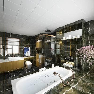 现代, 卫生间, 淋浴间, 花瓶, 浴室柜, 摆件