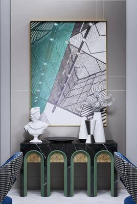 端景台, 摆件组合, 装饰画