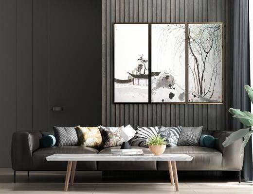 现代沙发, 茶几, 挂画, 背景墙
