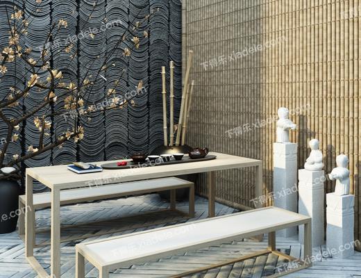 花园庭院, 茶桌, 凳子, 花卉, 花瓶, 茶具, 中式