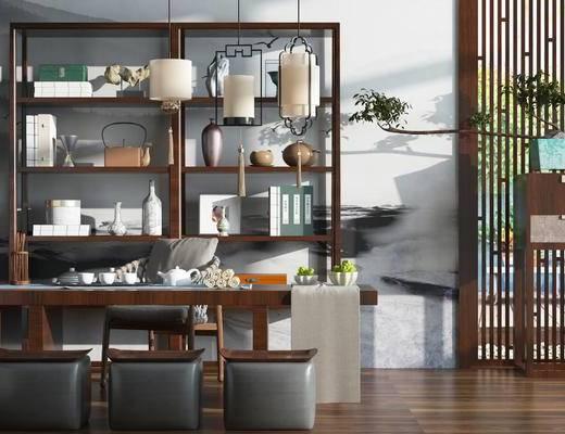 新中式, 茶室, 茶桌, 椅子, 柜子, 柜架, 摆件, 陈设品, 盆栽, 案几, 茶具