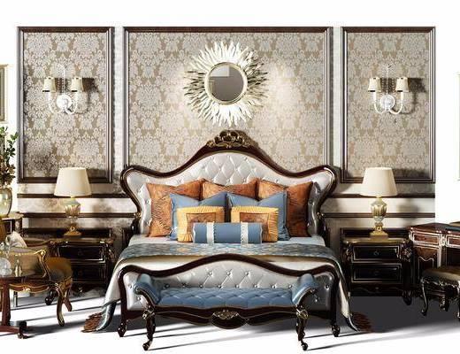 欧式双人床组合, 欧式壁灯, 欧式床, 欧式脚踏, 欧式沙发椅, 欧式床头柜