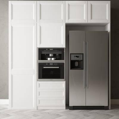 现代冰箱, 咖啡机, 置物柜