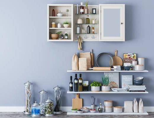 厨具, 摆件组合, 置物柜