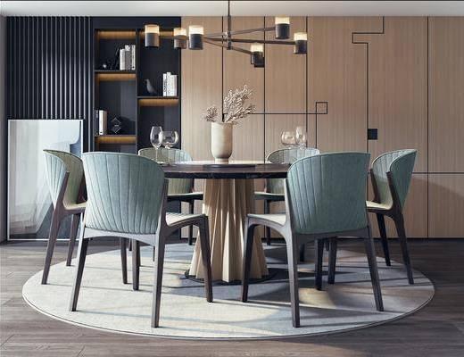 餐桌, 餐椅, 单人椅, 吊灯, 摆件, 装饰品, 陈设品, 现代