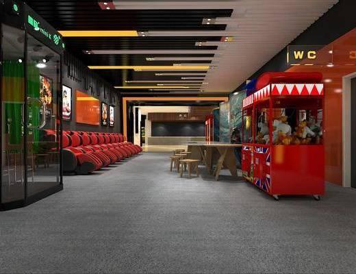 电影院, 休闲区, 现代电影院, 现代, 按摩椅, 公仔, 玩具, 娃娃机