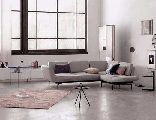 沙发组合, 装饰画, 茶几, 地毯