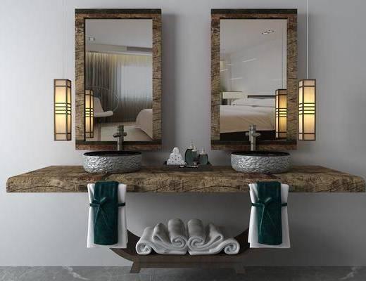 台盆组合, 洗手台组合, 吊灯组合, 装饰镜, 中式