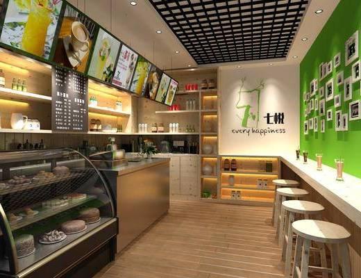 奶茶店, 前台接待, 货架, 吧台椅组合, 照片墙, 食品柜, 食品, 摆件组合, 现代