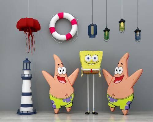 儿童玩具, 海绵宝宝, 儿童吊灯, 游泳圈组合, 吊灯, 现代