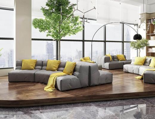 现代简约, 会客厅, 沙发茶几组合, 书架, 置物架, 落地灯