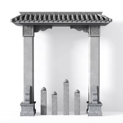 门头, 门洞, 拱门, 垭口, 庭院门, 石材门, 套门线, 新中式