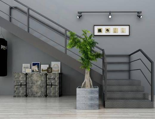 楼梯, 盆栽, 绿植, 植物, 装饰画, 射灯, 边柜, 摆件, 工业风, 双十一