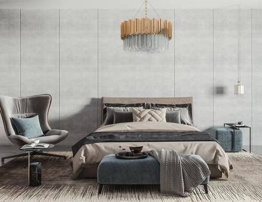 布艺双人床, 床头柜, 吊灯, 单人椅, 茶几, 抱枕