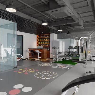 健身房, 健身室, 健身器材, 健身设备, 前台, 接待