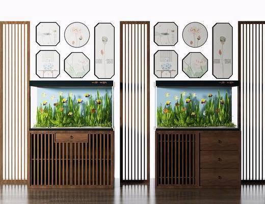 鱼缸屏风, 隔断组合, 鱼缸水族, 组合画, 新中式
