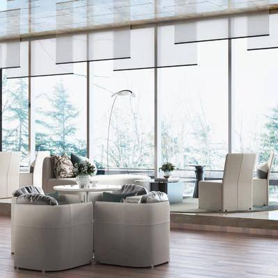 售楼处, 桌椅组合, 沙发组合, 茶几, 抱枕