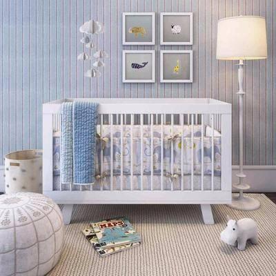 单人床, 装饰画, 挂画, 落地灯, 墙饰, 吊灯, 玩具, 脚踏沙发, 书籍, 垃圾桶, 北欧
