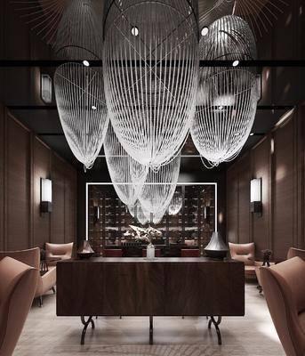 酒店會所, 洽談區, 單人沙發, 茶幾, 吊燈, 壁燈, 裝飾柜, 電視柜, 邊柜, 中式