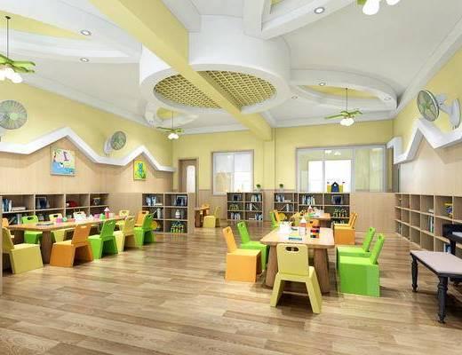 幼儿园, 课桌, 单人床, 卫生间