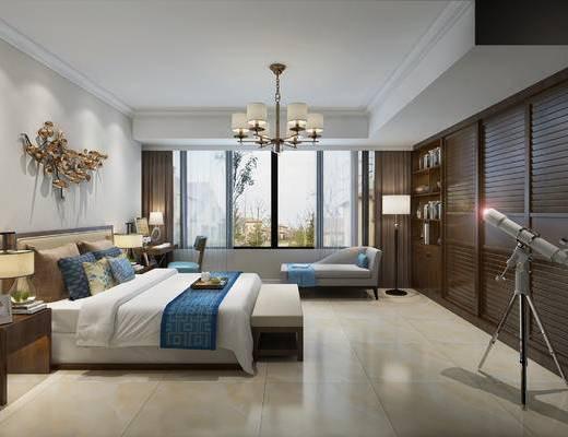 中式臥室, 臥室, 雙人床