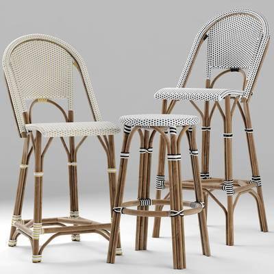 藤编, 吧椅, 高脚凳, 现代, 吧凳, 藤椅