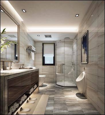 卫生间, 洗手台, 小便池, 马桶, 花洒, 装饰镜, 中式