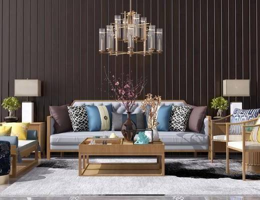 沙发组合, 沙发茶几组合, 多人沙发, 茶几, 边几, 他是否带, 吊灯, 单椅, 中式, 新中式