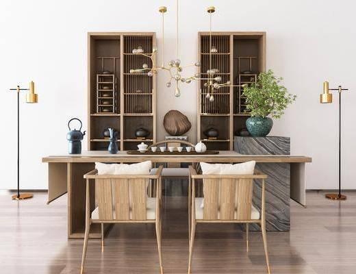 中式桌椅, 桌椅, 茶具摆件, 桌椅组合